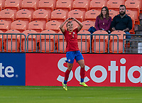 HOUSTON, TX - JANUARY 28: Melissa Herrera #7 of Costa Rica celebrates a goal during a game between Costa Rica and Panama at BBVA Stadium on January 28, 2020 in Houston, Texas.