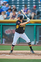 Bo Way (10) of the Salt Lake Bees bats against the El Paso Chihuahuas at Smith's Ballpark on August 14, 2018 in Salt Lake City, Utah. El Paso defeated Salt Lake 6-3. (Stephen Smith/Four Seam Images)