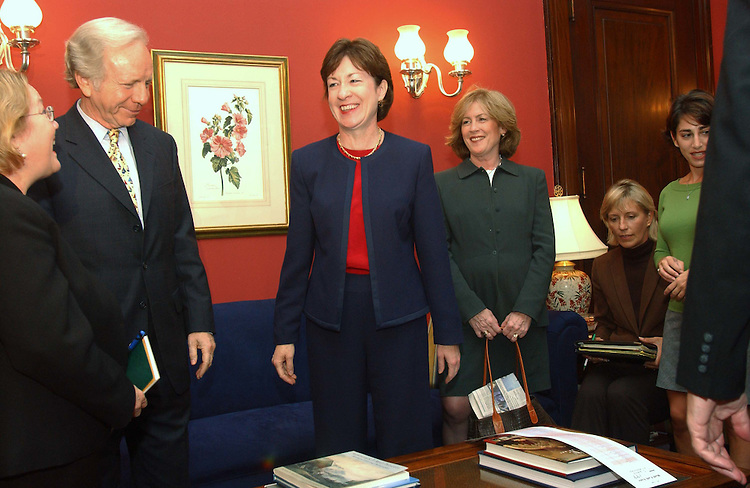10/14/04.COLLINS/LIEBERMAN MEETING WITH 911 FAMILIES--Family members of Sept. 11 victims arrive for a meeting with Sen. Susan Collins, R-Maine, (middle) and Sen. Joseph I. Lieberman, D-Conn. Left to right are Carol Ashley, Mary Fetchet, Berverly Eckert and Carrie Lemack..CONGRESSIONAL QUARTERLY PHOTO BY SCOTT J. FERRELL