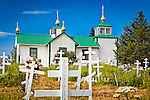 Holy Transfiguration of Our Lord Chapel and Cemetery on a sunny day, Ninilchik, Kenai Peninsula, Southcentral Alaska, Summer.