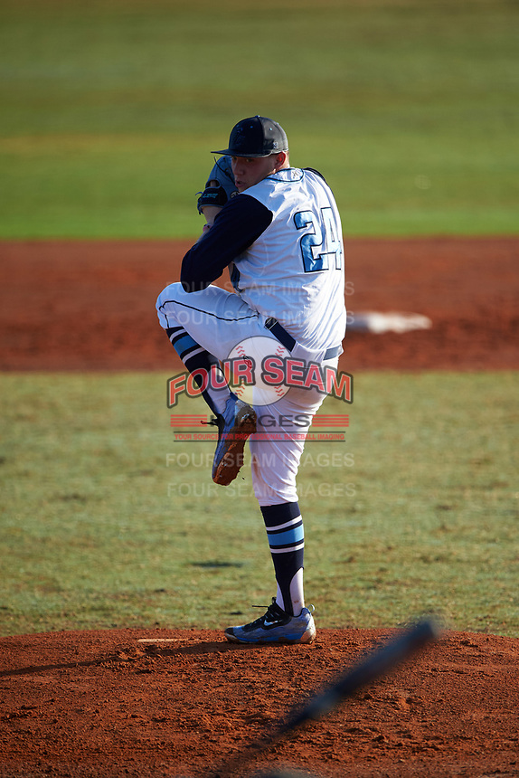 Lasell Lasers starting pitcher Frank Zammarelli (24) delivers a pitch during the first game of a doubleheader against the Edgewood Eagles on March 14, 2016 at Terry Park in Fort Myers, Florida.  Edgewood defeated Lasell 9-7.  (Mike Janes/Four Seam Images)