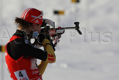 09.12.2012.  Hochfilzen, Austria. Tina Bachmann (GER) during the E.On IBU Biathlon World Cup - Relay races - Stage 2 in Austria