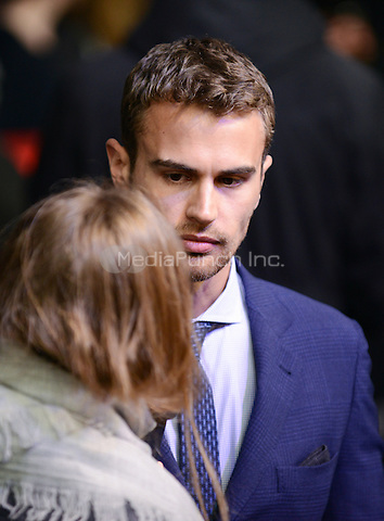 Theo James attending the &quot;Divergent&quot; Premiere at the CineStar IMAX, Sony Center, Potsdamer Platz, Berlin, Germany, 1.4.2014. <br /> Photo by Janne Tervonen/insight media /MediaPunch ***FOR USA ONLY***