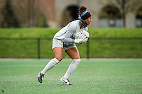 Allston, MA - Sunday, May 1, 2016:  Boston Breakers goalkeeper Abby Smith (14) in a match against the Portland Thorns FC at Jordan Field, Harvard University.