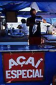 Belem, Amazon, Brazil. Market juice bar serving Acai fruit juice.