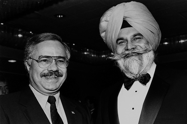 Rep. Jaime Fuster, D-P.R., and Gurmit Singh Aulakh, President of the Council of Khalistan. October 9, 1989. (Photo by Laura Patterson/CQ Roll Call)