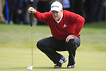 Marcus Fraser (AUS) lines up his putt on the 1st green during the Final Day of the BMW PGA Championship Championship at, Wentworth Club, Surrey, England, 29th May 2011. (Photo Eoin Clarke/Golffile 2011)
