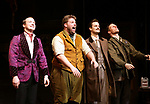 Greg Tannahill, Henry Lewis, Henry Shields and Dave Hearn from 'The Play That Goes Wrong' during the Broadway Opening Night curtain call bows at the Lyceum Theatre on April 2, 2017 in New York City.
