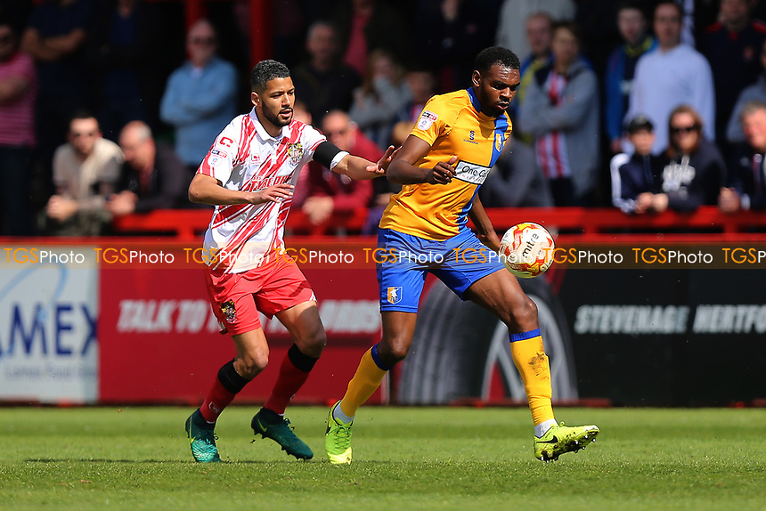 Jobi McAnuff of Stevenage and Hayden White of Mansfield Town during Stevenage vs Mansfield Town, Sky Bet EFL League 2 Football at the Lamex Stadium on 22nd April 2017