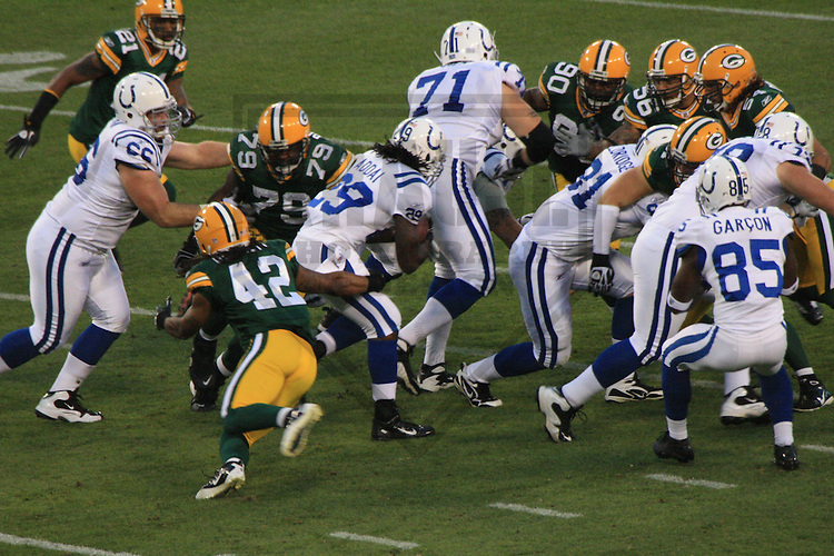 GREEN BAY - AUGUST 2010: The Indianapolis Colts against the Green Bay Packers during a game on August 26, 2010 at Lambeau Field in Green Bay, Wisconsin. (Photo by Brad Krause)