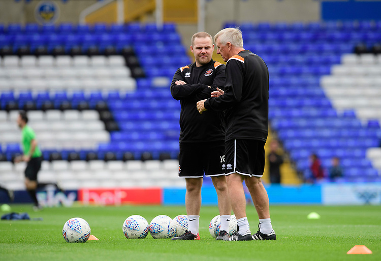 Blackpool's kit man John Gee, left, and Blackpool's assistant manager Ian Miller during the pre-match warm-up<br /> <br /> Photographer Chris Vaughan/CameraSport<br /> <br /> The EFL Sky Bet League One - Coventry City v Blackpool - Saturday 7th September 2019 - St Andrew's - Birmingham<br /> <br /> World Copyright © 2019 CameraSport. All rights reserved. 43 Linden Ave. Countesthorpe. Leicester. England. LE8 5PG - Tel: +44 (0) 116 277 4147 - admin@camerasport.com - www.camerasport.com