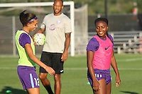 Piscataway, NJ - Wednesday Sept. 07, 2016: Kristen Edmonds, Jamia Fields prior to a regular season National Women's Soccer League (NWSL) match between Sky Blue FC and the Orlando Pride FC at Yurcak Field.