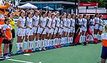 Den Bosch  -  line up Belgie met volkslied   voor  de Pro League hockeywedstrijd dames, Nederland-Belgie (2-0).  COPYRIGHT KOEN SUYK