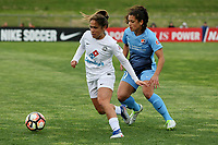 Piscataway, NJ - Sunday April 30, 2017: Lo'eau LaBonta and Raquel Rodriguez during a regular season National Women's Soccer League (NWSL) match between Sky Blue FC and FC Kansas City at Yurcak Field.
