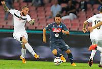 Dries Mertens  durante l'incontro  di calco d Seriden A  tra SSC Napoli e US Palermo    allo stadio San Paolo di Napoli , 24 Settembre  2014