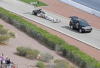 Apr. 7, 2013; Las Vegas, NV, USA: NHRA top fuel dragster driver Brandon Bernstein on the return road during the Summitracing.com Nationals at the Strip at Las Vegas Motor Speedway. Mandatory Credit: Mark J. Rebilas-