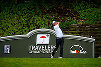 06/24/09 - Photo by John Cheng for Newsport. PGA Professional Fredrik Jaobs0n tees off at the Traverlers Championship during the Pro-AM event at TPC River Highlands in Cromewll, Connecticut.