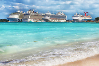 A line up of cruise ships in port at Nassau in the Bahamas.