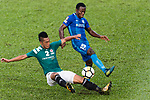 Christian Kwesi of SC Kitchee (R) in action against Chi Ho lee of Long Lions (L) during the Community Cup match between Kitchee and Eastern Long Lions at Mong Kok Stadium on September 23, 2017 in Hong Kong, China. Photo by Marcio Rodrigo Machado / Power Sport Images