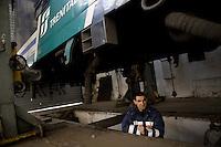 Roma 24 Febbraio 2012.I lavoratori della Rsi Italia SpA (Rail Service Italia, ex Wagons Lits), in Cassa Integrazione straordinaria da 6 mesi hanno occupato la fabbrica di via Umberto Partini a Roma. Sono 59 operai (33 metalmeccanici, 26 dei trasporti), addetti alla manutenzione dei Treni Notte..Massimiliano. frigorista elettricista..Workers at the Rsi Italy SpA (Italy Rail Service, former Wagons Lits), extraordinary layoff from 6 months have occupied the factory in via Umberto Partini in Rome. We are 59 workers (33 metalworkers, 26 transport), Night Train maintenance workers. Rome, Italy 24th of February 2012