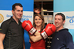 Niamh Gargan with Mark Nulty and Derek Bradley at the Launch of the White Collar boxing Fight Night in the West Court Hotel...Picture Fran Caffrey www.newsfile.ie