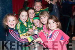 A group of Dingle girls holding on the cup at the Kerry Minors Homecoming in Dingle on tuesday night.