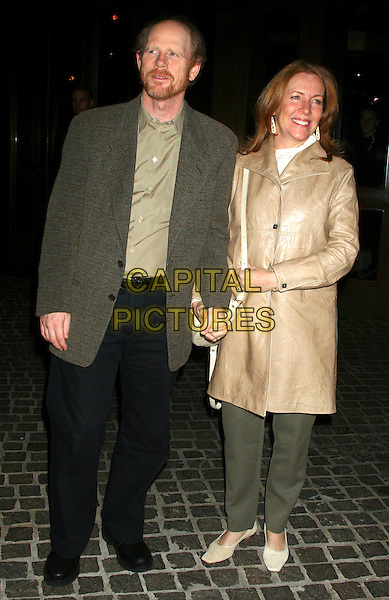"""RON HOWARD & CHERYL (WIFE).The screening of """"Candy"""" at the Tribeca Grand Hotel, New York, NY, USA..November 6th, 2006.Ref: IW.full length green suit jacket black trousers husband married beige jacket.www.capitalpictures.com.sales@capitalpictures.com.©Ian Wilson/Capital Pictures"""