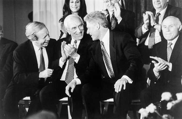 National Jewish Democratic Council Presidential Gala, honouring 8 U.S. Senators at the National Museum of Woman in Arts. Left to right are Sen. Joe Lieberman, D-Conn. Sen. Frank Lautenberg, D-N.J., President Bill Clinton and Sen. Herb Kohl, D-Wis. on Nov. 2, 1995. (Photo by Laura Patterson/CQ Roll Call)