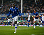 Romelu Lukaku of Everton celebrates during the English Premier League match at Goodison Park Stadium, Liverpool. Picture date: April 9th 2017. Pic credit should read: Simon Bellis/Sportimage