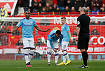 Fernandinho of Manchester City questions referee Mike dean as to whether it was a free kick that Manchester United scored from  during the Premier League match at Old Trafford, Manchester. Picture date: 8th March 2020. Picture credit should read: Darren Staples/Sportimage