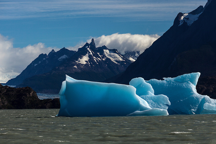 Vivid blue icebergs float in the lake below Grey Glacier, Torres del Paine NP, Chile