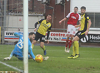 Fleetwood Town's Ashley Nadesan  sees his shot hit the post<br /> <br /> Photographer Mick Walker/CameraSport<br /> <br /> The EFL Sky Bet League One - Fleetwood Town v Scunthorpe United - Saturday 26th January 2019 - Highbury Stadium - Fleetwood<br /> <br /> World Copyright © 2019 CameraSport. All rights reserved. 43 Linden Ave. Countesthorpe. Leicester. England. LE8 5PG - Tel: +44 (0) 116 277 4147 - admin@camerasport.com - www.camerasport.com