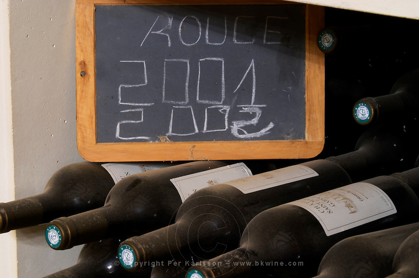 Rouge red 2001 2002. Chateau St Martin de la Garrigue. Languedoc. Bottle cellar. France. Europe. Bottle.