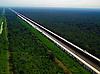 Aerial  of Atchafalaya Swamp Freeway outside of  Baton Rouge, LA
