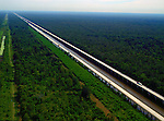Aerial  of Atchafalaya Basin Bridge outside of  Baton Rouge, LA