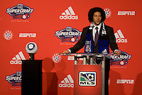 Justin Morrow of Notre Dame speaks after being the 28th  overall pick of  the MLS Superdraft by the San Jose Earthquakes at the Pennsylvania Convention Center in Philadelphia, PA.