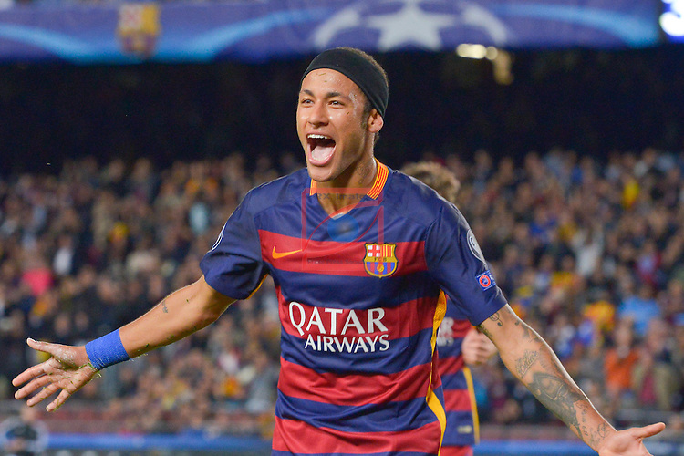 NEYMAR celebrating score- Champions League 2015/16 Matchdy 4 - FC Barcelona vs Bate Borisov (3-0)