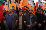 Demonstrators from various Palestinian factions take part in a rally in the West bank city of Ramallah demanding the lift of the siege on Gaza and calling for Hamas and Fatah conciliation, on December 31, 2009. Hundreds of people including international activists protested on both sides of a Gaza Strip border crossing against Israeli closures imposed on the Hamas-ruled territory. Photo by Issam Rimawi