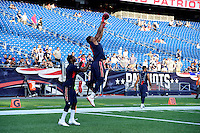 Thursday August 11, 2016: New England Patriots cornerback Malcolm Butler (21) catches the ball during warm up before an NFL pre-season game between the New Orleans Saints and the New England Patriots held at Gillette Stadium in Foxborough Massachusetts. The Patriots defeat the Saints 34-22 in regulation time. Eric Canha/CSM