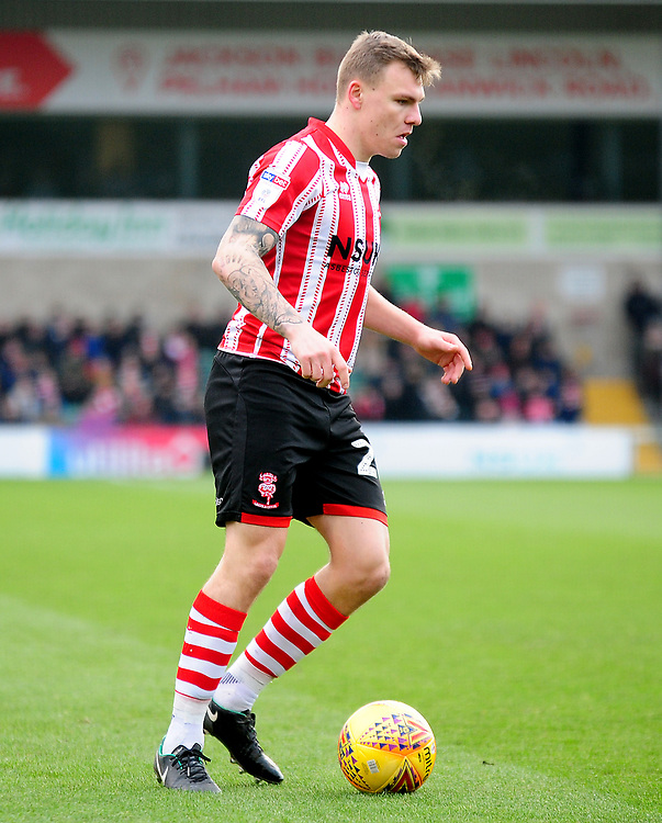 Lincoln City's Harry Anderson<br /> <br /> Photographer Andrew Vaughan/CameraSport<br /> <br /> The EFL Sky Bet League Two - Lincoln City v Grimsby Town - Saturday 19 January 2019 - Sincil Bank - Lincoln<br /> <br /> World Copyright &copy; 2019 CameraSport. All rights reserved. 43 Linden Ave. Countesthorpe. Leicester. England. LE8 5PG - Tel: +44 (0) 116 277 4147 - admin@camerasport.com - www.camerasport.com