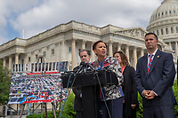 Representative Nydia Vel&aacute;zquez, Democrat of New York, speaks during a press conference held by the United States House of Representatives Hispanic Caucus on Capitol Hill in Washington, DC on June 6, 2018.<br /> <br /> CAP/MPI/RS<br /> &copy;RS/MPI/Capital Pictures