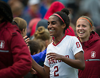 STANFORD, CA - November 23, 2018: Naomi Girma at Laird Q. Cagan Stadium. The top seeded Stanford Cardinal defeated the Tennessee Volunteers 2-0 in the Quarterfinal of the NCAA tournament.