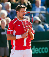 14-09-12, Netherlands, Amsterdam, Tennis, Daviscup Netherlands-Suiss, Moment of emotion for Stanislas Wawrinka
