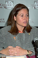 April 18,  2001, Montreal, Quebec, Canada<br /> <br /> Maria Eugenia Brizuela de Avila, Minister of External Affairs, Republic of El Salvador pose for photographer before taking part in a panel about<br /> Economic Integration, Legal Framework and Sustainable development,<br />  at the 7th International Forum on the New Economy (aka The Conference of Montreal).<br /> <br /> <br /> <br /> <br /> PHOTO :  Agence Quebec Presse