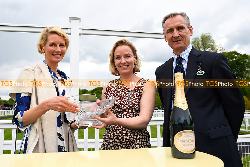 Connections of Fleur Forsyte collect their trophy during Afternoon Racing at Salisbury Racecourse on 18th May 2017