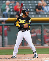 Tony Sanchez (27) of the Salt Lake Bees at bat against the Sacramento River Cats in Pacific Coast League action at Smith's Ballpark on April 13, 2017 in Salt Lake City, Utah.  Salt Lake defeated Sacramento 4-3. (Stephen Smith/Four Seam Images)