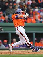 Center fielder Thomas Brittle (4) of the Clemson Tigers in a game against the South Carolina Gamecocks on Saturday, March 2, 2013, at Fluor Field at the West End in Greenville, South Carolina. Clemson won the Reedy River Rivalry game 6-3. (Tom Priddy/Four Seam Images).