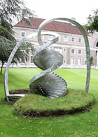 Aluminium DNA Helix sculpture at Clare College, Cambridge.Cambridge, U.K - A variety of scenes at the historic university city of Cambridge, England -  September 2nd 2012..Photo by Keith Mayhew