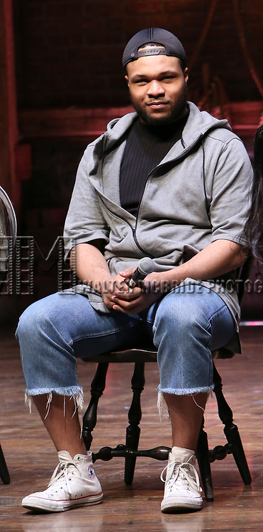 """Sean Green during the  #EduHam matinee performance Q & A for """"Hamilton"""" at the Richard Rodgers Theatre on 3/28/2018 in New York City."""