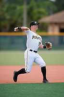 GCL Pirates third baseman Patrick Dorrian (50) throws to first base during the first game of a doubleheader against the GCL Yankees East on July 31, 2018 at Pirate City Complex in Bradenton, Florida.  GCL Yankees East defeated GCL Pirates 2-0.  (Mike Janes/Four Seam Images)